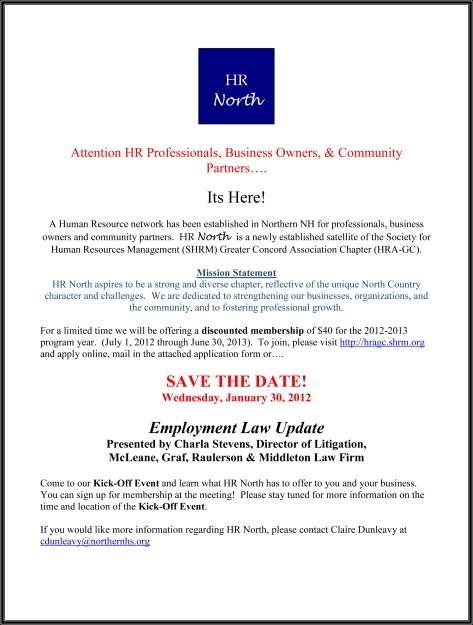 Attention HR Professionals, Business Owners, & Community Partner
