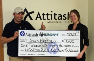 Jen's Friends President Corinne Reidy accepts a $1,700 donation from Attitash Race and Events Manager Corey Madden
