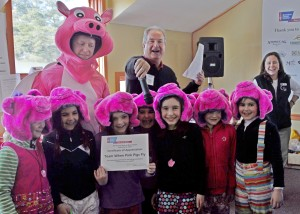 """Young members of team """"When Pigs Fly"""" enjoying their day at the Hope on the Slopes Race to Beat Cancer."""