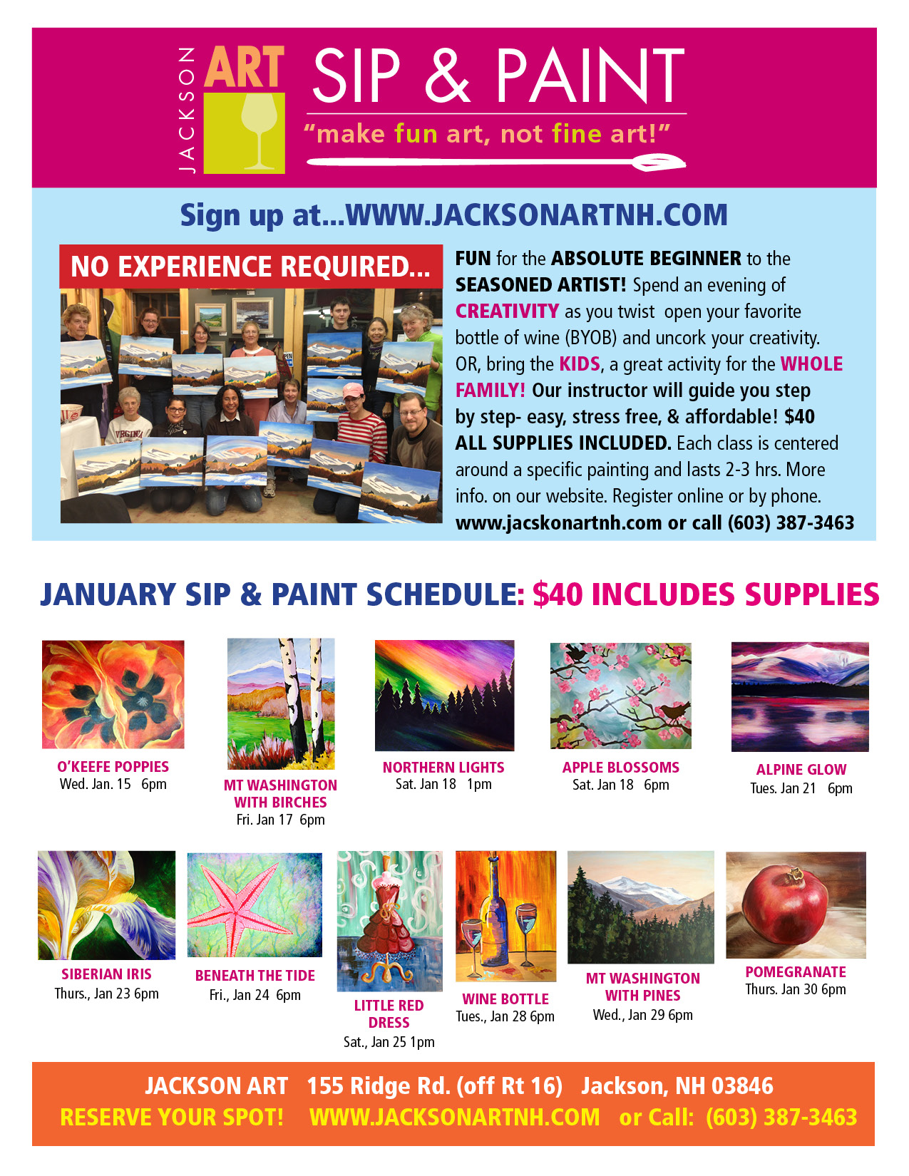 Sip paint at jackson art gallery mwv chamber of for Sip and paint