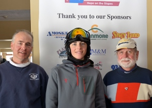 Shown here are last year's top individual fundraisers at the Hope on the Slopes Race To Beat Cancer:  Top individual fundraiser was 14 year old Neville White of Jackson (center), second highest fundraiser was  Richard Ayer of Glen, (right), and third highest fundraiser was Ken Romano of Lynnfield, MA (left).