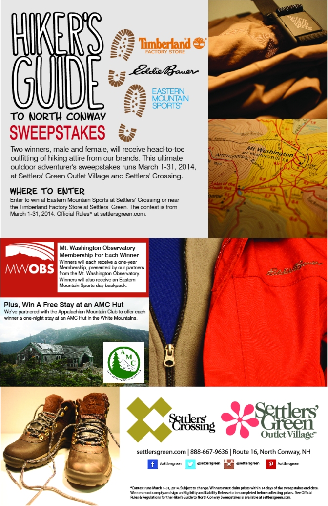 "Settlers' Green Outlet Village and Settlers' Crossing Present ""The Hiker's Guide to North Conway"" Adventure Sweepstakes, March 1-31"