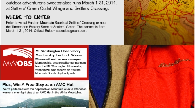 """Settlers' Green Outlet Village and Settlers' Crossing Present """"The Hiker's Guide to North Conway"""" Adventure Sweepstakes, March 1-31"""