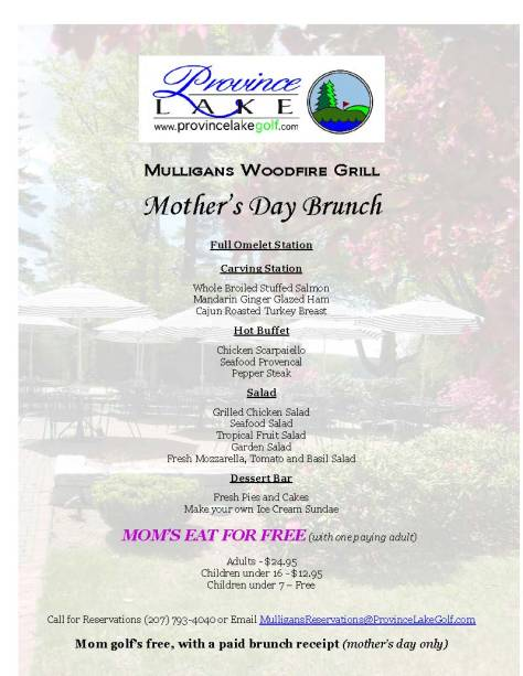 2014 Mother's day menu