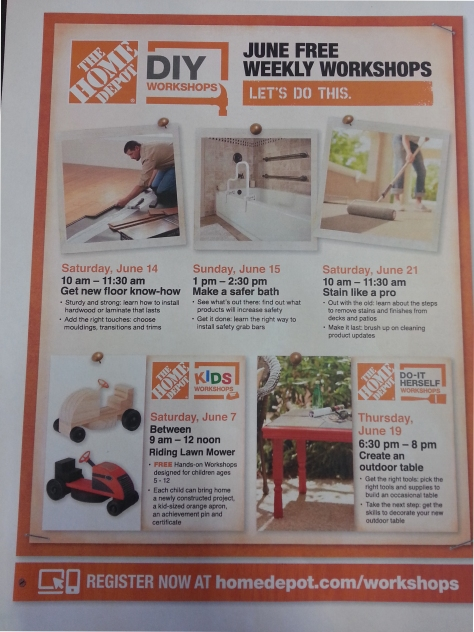 Home Depot Classes In June In And Around Mt Washington