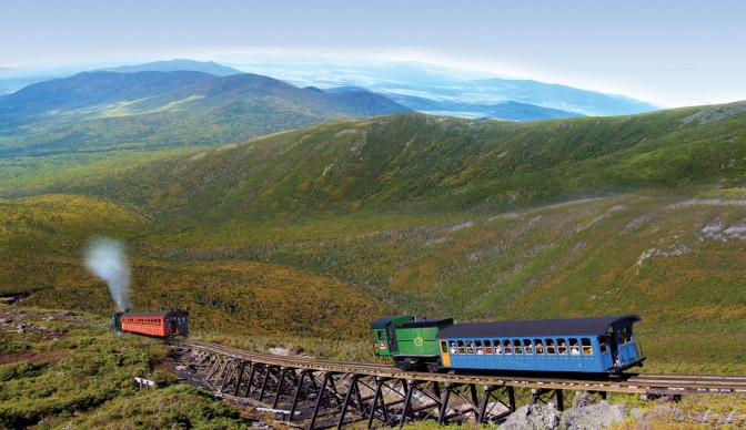Looking for a way to beat the heat? Head to Mount Washington and ride the Cog Railway